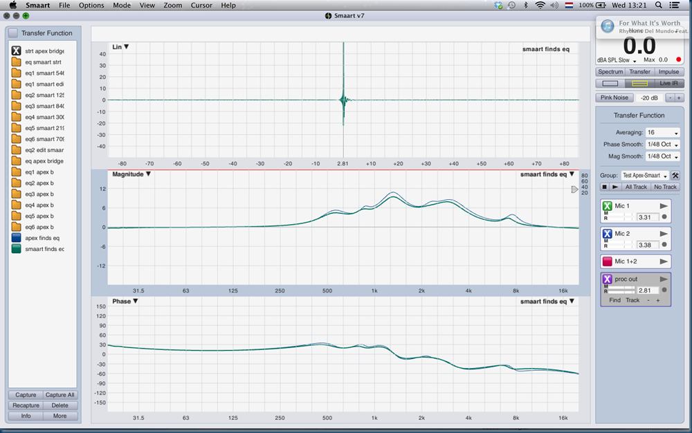 17 processor out between apex bridge eq vs smaart eq