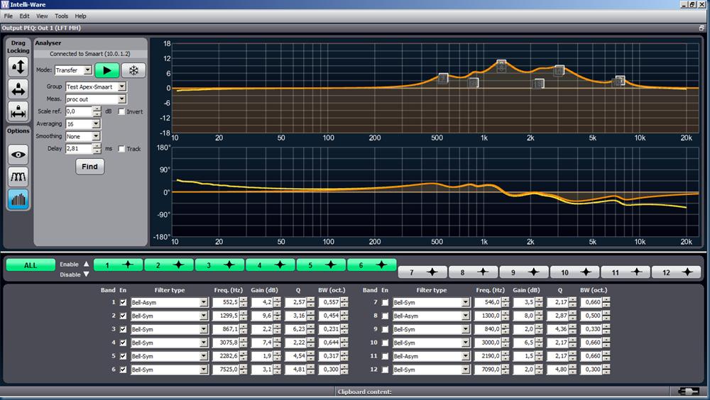 Apex eq Smaart vs apex proc trace
